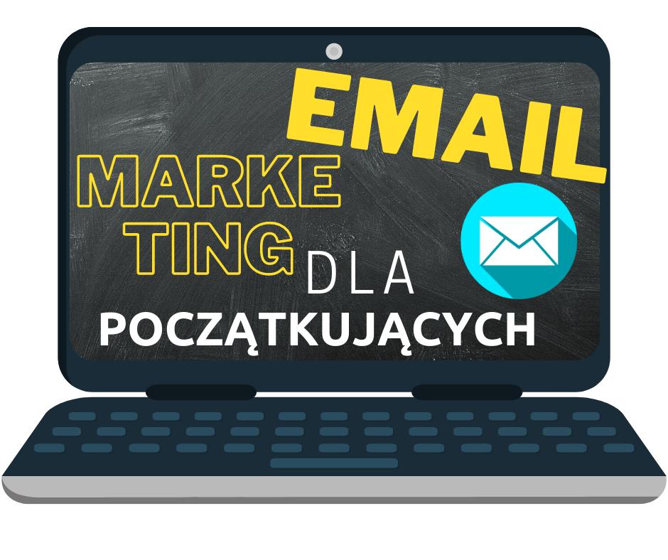 email marketing dla poczatkujacych okladka kursu w laptopie